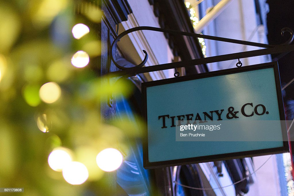 The Tiffany Co store on Bond Street lines it's windows with fairy lights as part of it's Christmas light display on December 8 2015 in London England...