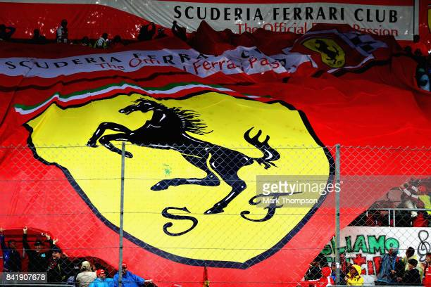 The Tifosi wave a Ferrari banner during qualifying for the Formula One Grand Prix of Italy at Autodromo di Monza on September 2 2017 in Monza Italy