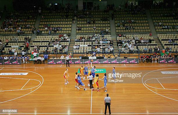 The Tigers and the Spirit play in front of a small crowd during the round eight NBL match between the Sydney Spirit and the Melbourne Tigers at the...