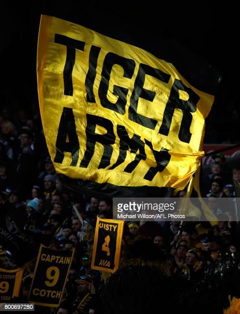 The Tigers cheer squad is seen during the 2017 AFL round 14 match between the Richmond Tigers and the Carlton Blues at the Melbourne Cricket Ground...