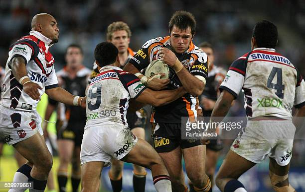 The Tigers' John Skandalis in action during the Round 15 NRL rugby league match between the Sydney Roosters and Wests Tigers at Telstra Stadium 17...