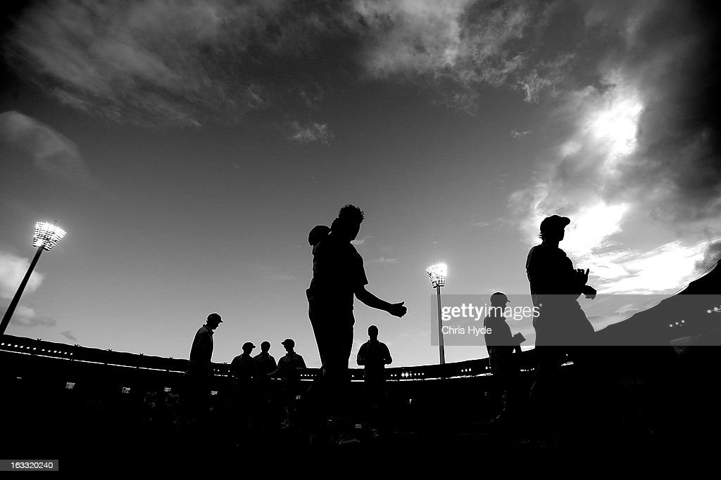 The Tigers leave the ground at the end of play during day two of the Sheffield Shield match between the Queensland Bulls and the Tasmanian Tigers at The Gabba on March 8, 2013 in Brisbane, Australia.