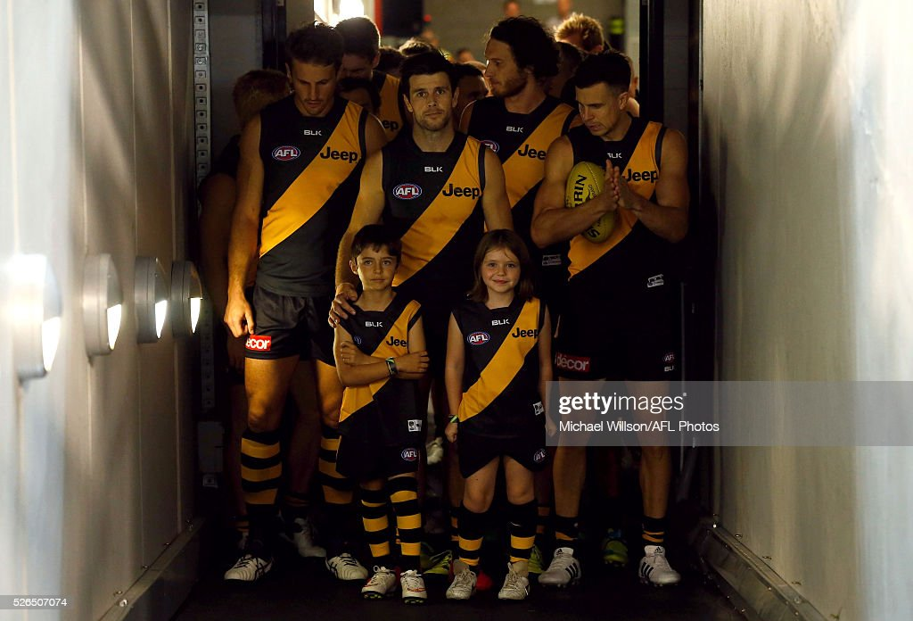 The Tigers prepare to enter the arena during the 2016 AFL Round 06 match between the Richmond Tigers and Port Adelaide Power at the Melbourne Cricket Ground on April 30, 2016 in Melbourne, Australia.
