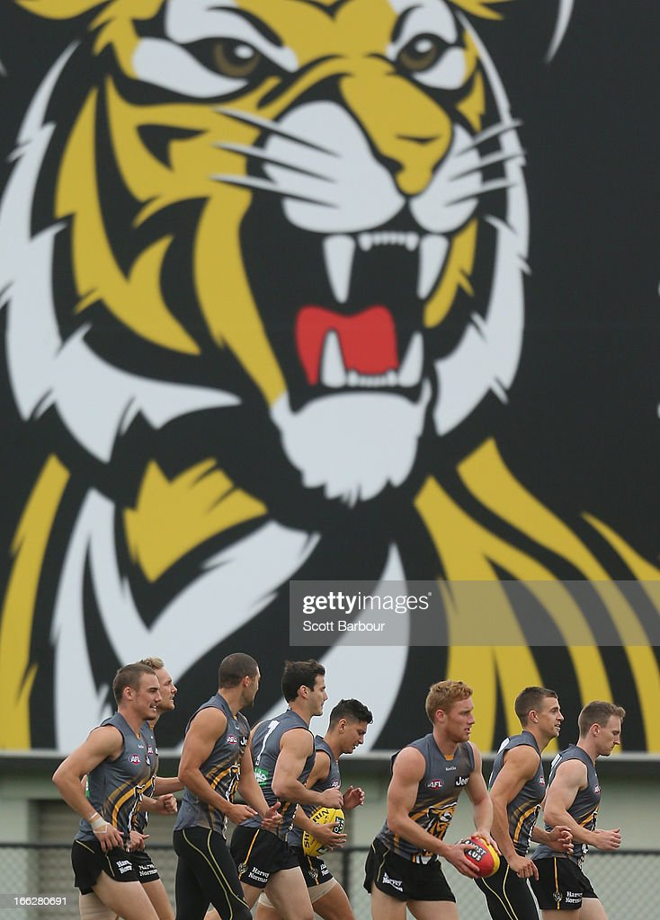 The Tigers run during a Richmond Tigers AFL Training session at ME Bank Centre on April 11, 2013 in Melbourne, Australia.