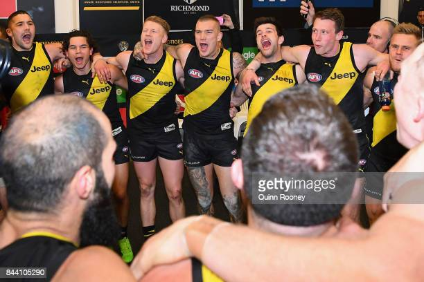 The Tigers sing the song in the rooms after winning the AFL Second Qualifying Final Match between the Geelong Cats and the Richmond Tigers at...