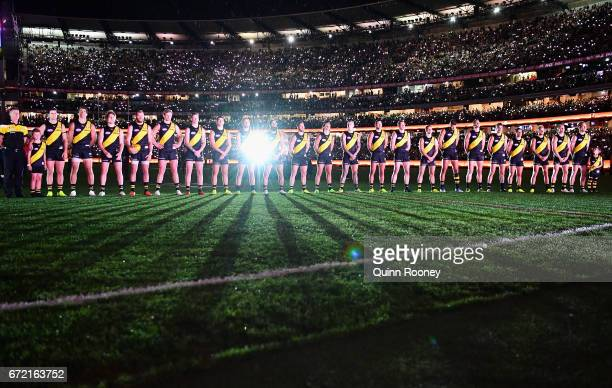 The Tigers stand for the last post during the round five AFL match between the Richmond Tigers and the Melbourne Demons at Melbourne Cricket Ground...