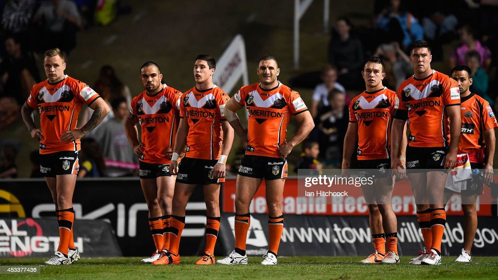 The Tigers stand in goal waiting for a conversion attempt during the round 22 NRL match between the North Queensland Cowboys and the Wests Tigers at 1300SMILES Stadium on August 9, 2014 in Townsville, Australia.