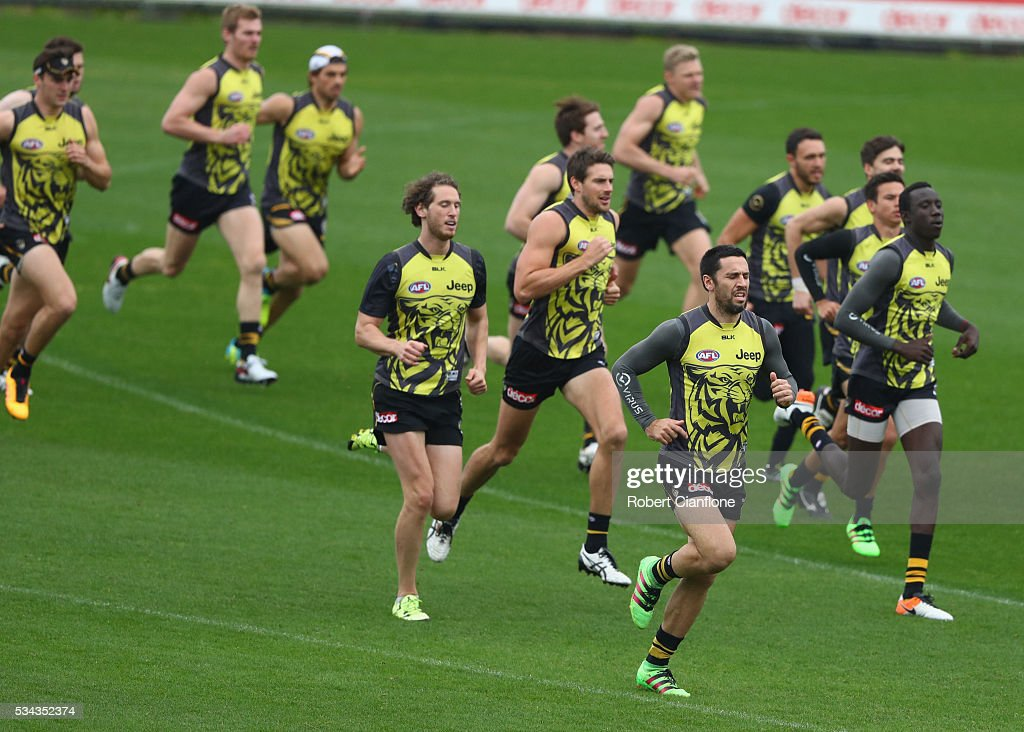 The Tigers warm up during a Richmond Tigers AFL training session at ME Bank Centre on May 26, 2016 in Melbourne, Australia.