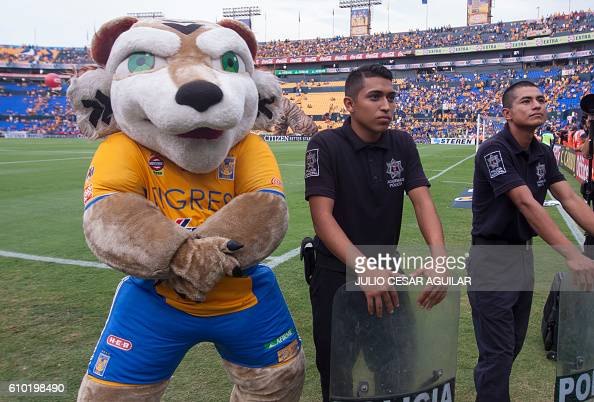 The Tigres team mascot poses for a photo before the start of the Mexican Apertura 2016 tournament football match against Cruz Azul at the...