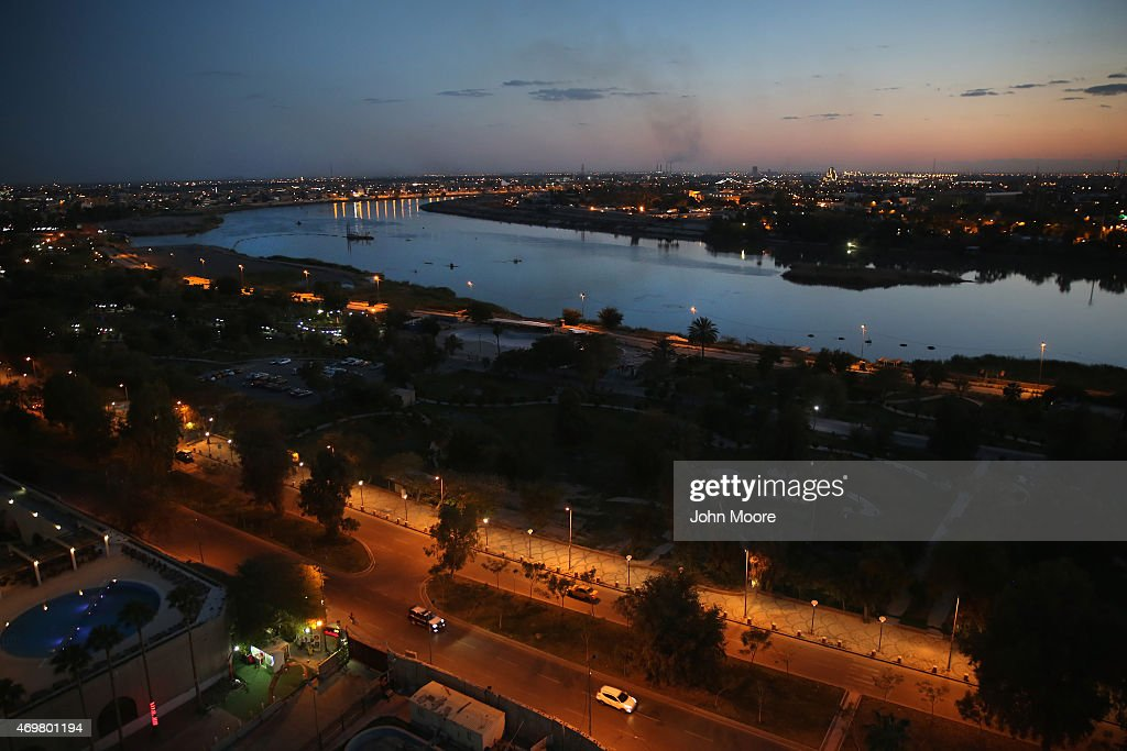 The Tigris River snakes through the capital on April 13 2015 in Baghdad Iraq Baghdad has again come to life at night following the February lifting...
