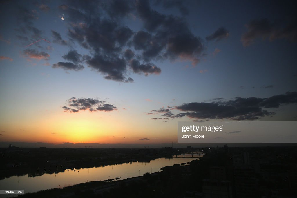 The Tigris River snakes through the capitol at sunset on April 13 2015 in Baghdad Iraq Baghdad has again come to life at night following the February...