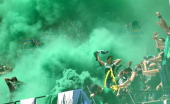 The Timber Army celebrates a goal during the Portland Timbers against of the Seattle Sounders game on June 24 2012 at JeldWen Field in Portland Oregon