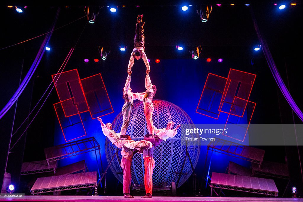The Timbuktu Tumblers perform at the Cirque Berserk rehearals ahead of the circus opening night at The Peacock Theatre on February 8, 2016 in London, England.