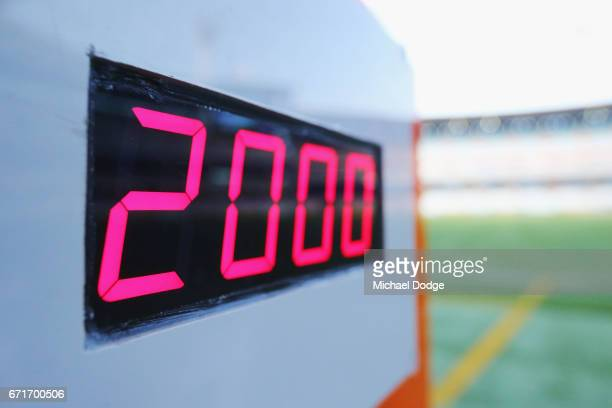 The time clock is seen during the round five AFL match between the Hawthorn Hawks and the West Coast Eagles at Melbourne Cricket Ground on April 23...