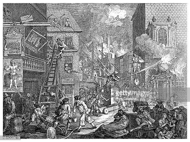 'The Times plate I' c1762 A representative of King George III fights a fire which is burning down houses representing Germany and France whilst...