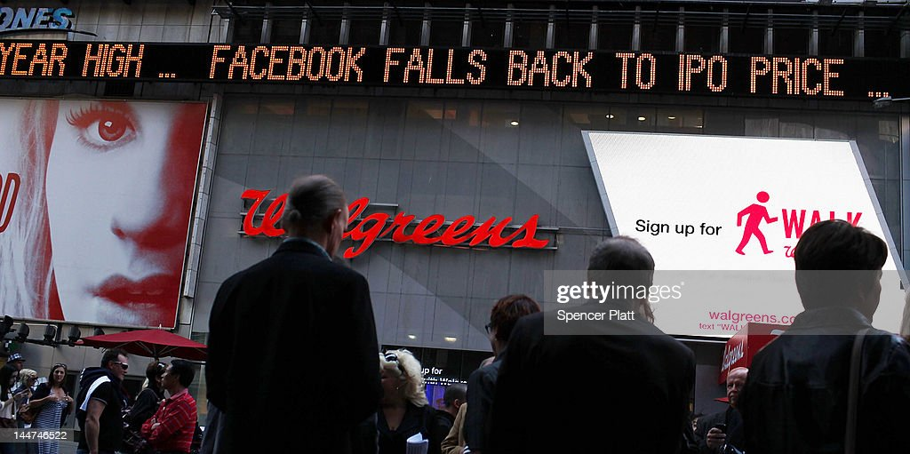 The Times Square news ticker displays a headline about the newly debuted Facebook stock price at the end of the trading day on May 18, 2012 in New York, United States. The social network site began trading after 11:30 a.m. with shares jumping 13% to $43 before quickly falling. Facebook ended the day at $38.23, a fraction above its initial public offering price.