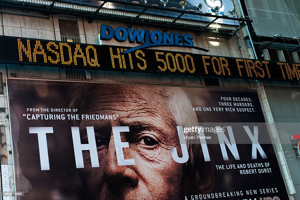 The Times Square newsticker announces the NASDAQ composite index topping 5000 points on March 2 2015 in New York City The NASDAQ composite climbed...
