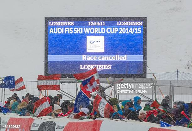 The timing board informs about the cancellation of the women's World Cup SuperG race of the Alpine Skiing FIS World Cup in Bad Kleinkirchheim Austria...
