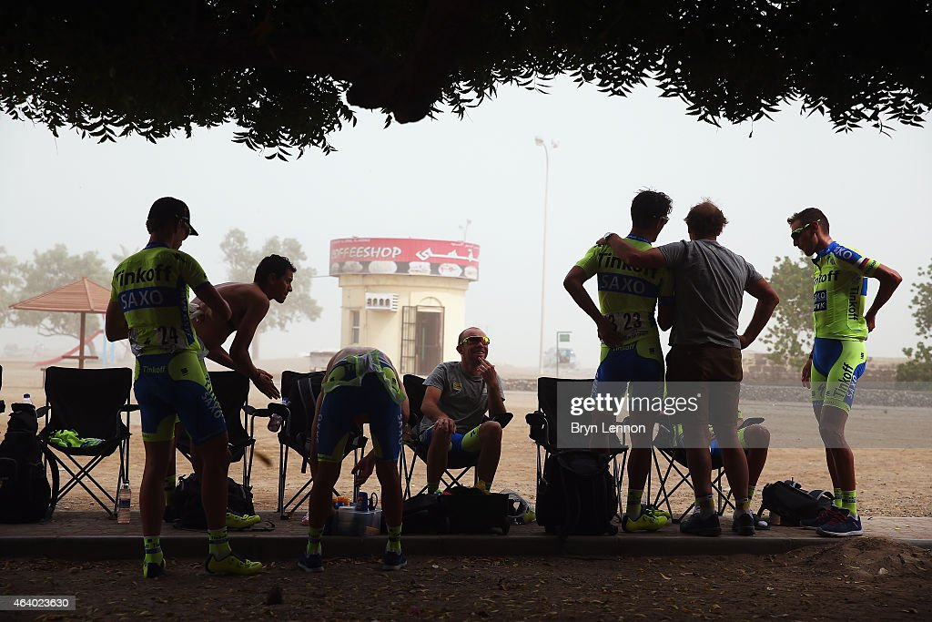 The Tinoff-Saxo team prepare for the start of stage 5 of the 2015 Tour of Oman, a 151.5km road stage from Al Sawadi Beach to Ministry of Housing on February 21, 2015 in Muscat, Oman.