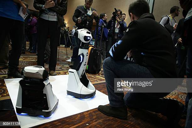 The Tipron a robot projector which will be in the market in Spring is on display during a press event for CES 2016 at the Mandalay Bay Convention...