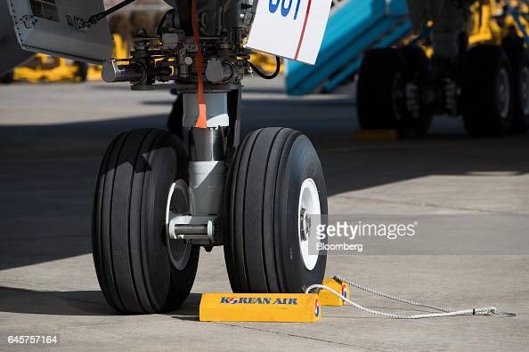 The tires of a Boeing Co 7879 Dreamliner passenger aircraft operated by Korean Air Lines Co are seen during a media preview at Incheon International...