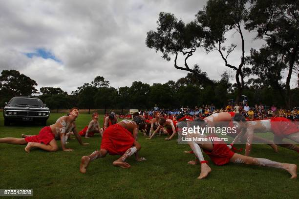 The Tirkandi Inaburra Indigenous dancers prepare to welcome Mungo Man back to country during a ceremony on November 17 2017 in Hay Australia The...