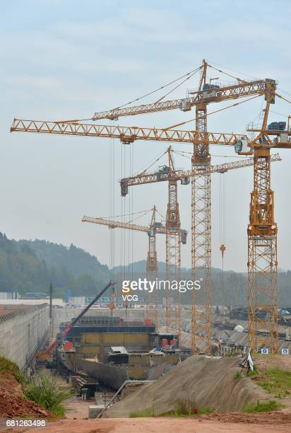 The Titanic replica is under construction on May 9 2017 in Suining Sichuan Province of China The fullsize replica of sunken cruise ship Titanic was...