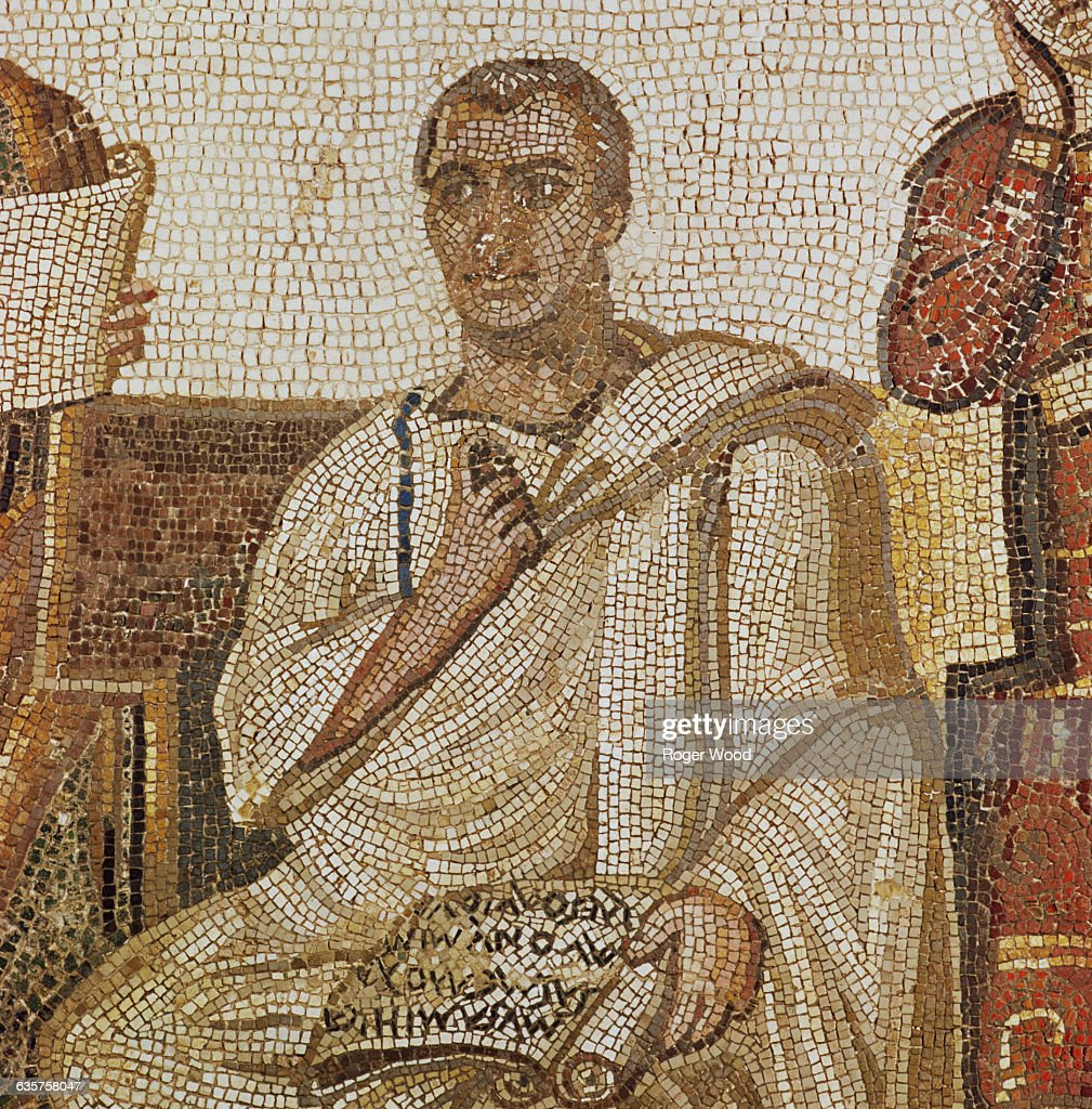 The title of this mosaic is '<a gi-track='captionPersonalityLinkClicked' href=/galleries/search?phrase=Virgil&family=editorial&specificpeople=78328 ng-click='$event.stopPropagation()'>Virgil</a> writing the Aeneid, inspired by two muses.' Originally found in Sousse, Tunisia, it is now at the Bardo Museum in Tunis, Tunisia. | Detail of: Mosaic of <a gi-track='captionPersonalityLinkClicked' href=/galleries/search?phrase=Virgil&family=editorial&specificpeople=78328 ng-click='$event.stopPropagation()'>Virgil</a> Writing the Aeneid alongside Muses Clio and Melpomene.