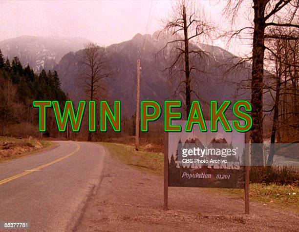 The title scene from the pilot episode of the television series 'Twin Peaks' originally broadcast on April 8 1990 It was filmed on Reinig Road in...