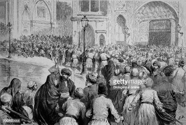 The tobacco revolt in Persia Crowd in front of the palace of the Shah calls for the lifting of the monopoly Woodcut from 1892