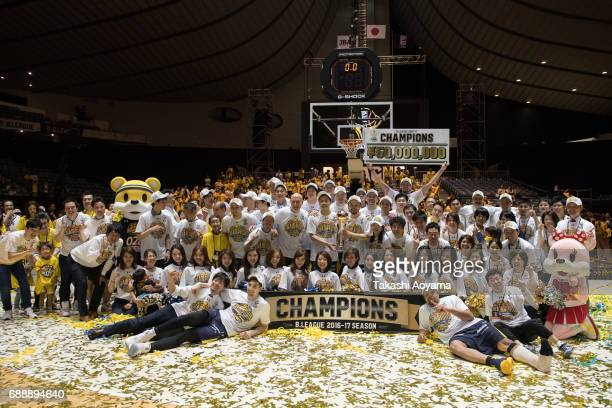 The Tochigi Brex celebrate after defeating the Kawasaki Brave Thunders 8579 to win the B League final match between Kawasaki Brave Thunders and...