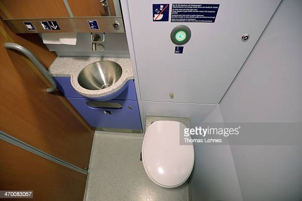The toilet of the generation of the ICE 3 Deutsche Bahn highspeed train version 407 pictured during a media ride from Frankfurt to Cologne on...