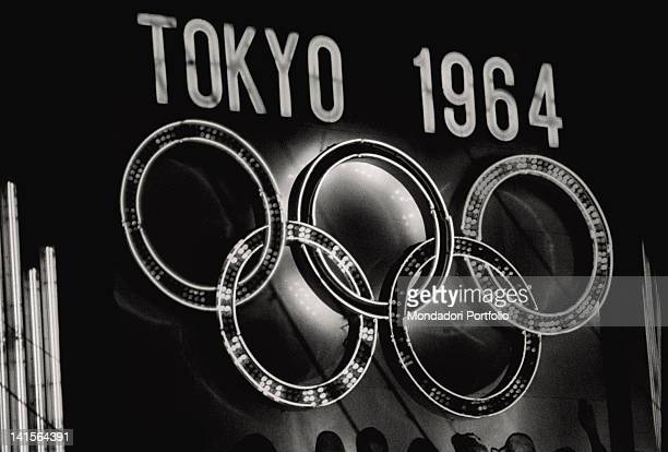 The Tokyo 1964 Olympics neon sign with the five Olympic rings Japan October 1964