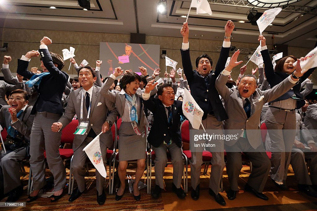 The Tokyo 2020 bid delegation celebrate as Tokyo is awarded the 2020 Summer Olympic Games during the 125th IOC Session 2020 Olympics Host City...
