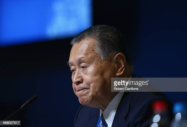 The Tokyo Organising Committee of the Olympic and Paralympic Games President and former Japanese Prime Minister Yoshiro Mori speaks during the Tokyo...