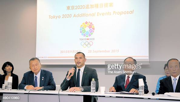 The Tokyo Organising Committee of the Olympic and Paralympic Games Executive board member Koji Murofushi speaks during the Honorary President and...