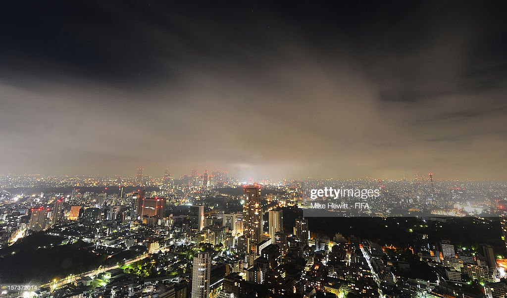 The Tokyo skyline at night seen on December 2, 2012 in Tokyo, Japan.
