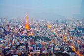 The Tokyo skyline at sunset and night.