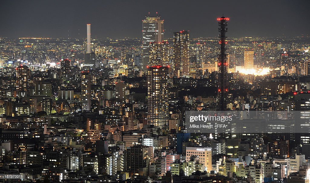 The Tokyo skyline seen at night on December 2, 2012 in Tokyo, Japan.