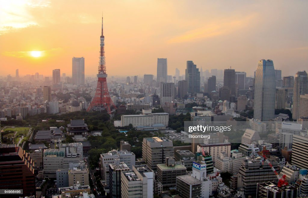 FILE The Tokyo Tower stands amid buildings at dusk in Tokyo Japan on Friday Sept 11 2009 in Tokyo Japan on Thursday Sept 17 2009 Tokyo is competing...