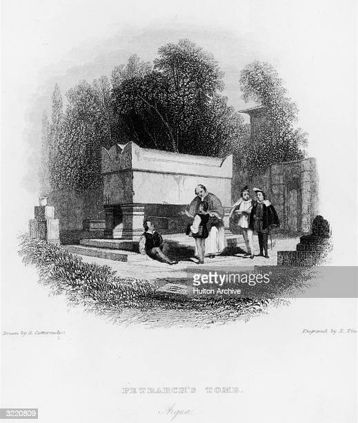 The tomb of 14th Century Italian scholar Petrarch in Arqua 1832 Engraved by E Finden after a drawing by G Cattermole