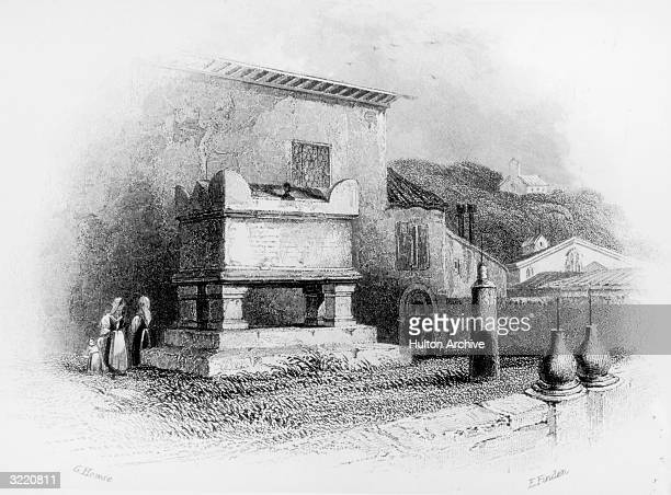 The tomb of 14th Century Italian scholar Petrarch in Arqua circa 1850 Engraved by E Finden after a drawing by G Howse