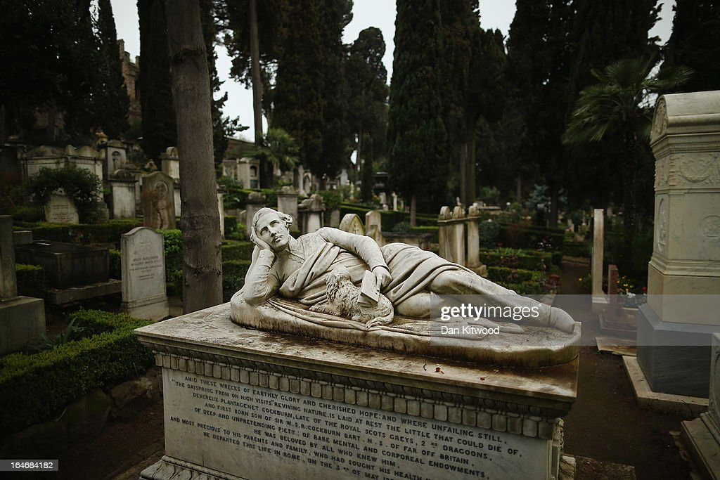 The tomb of Devereux Plantagenet Cockburn rests in Rome's 'Non Catholic Cemetery' on March 26, 2013 in Rome, Italy. Rome's Non-Catholic Cemetery contains one of the highest densities of famous and important graves anywhere in the world including John Keats, one of England's most famous poets, who died early in 1820 of tuberculosis aged 25, after travelling to Italy in search of a better climate to help cure him of the disease. As well as being the final resting-place of the poets Percy Shelley and John Keats, it is also home to graves of many other painters, sculptors and authors who died in Rome. The cemetery which began it's use in 1730 continues today, containing graves of Orthodox Christians, Jews, Muslims and other non-Christians, and is one of the oldest burial grounds in Europe.