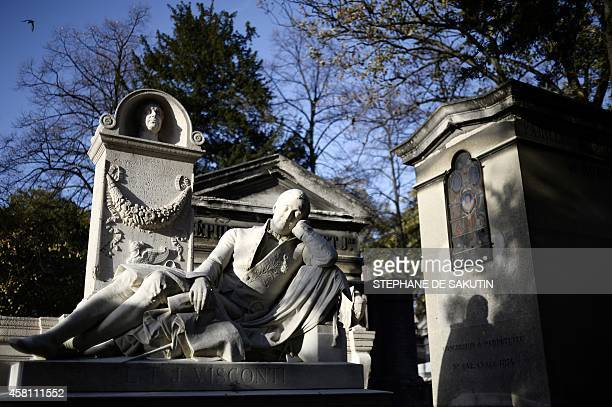 The tomb of French architect Louis Tullius Joachim Visconti is pictured at the Pere Lachaise cemetery in Paris on October 30 2014 AFP PHOTO /...