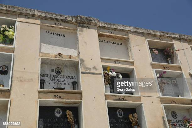 The tombs of people identified as Oussman and Jadamaalieu who according to the cemetery caretaker are migrants who died while trying to reach Italy...