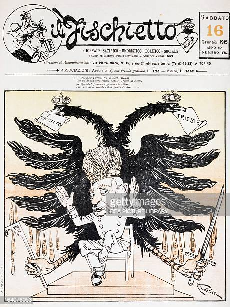 The tombs open the dead are raised satirical cartoon dedicated to Franz Joseph from Il Fischietto 16 January 1915 World War I Italy 20th century