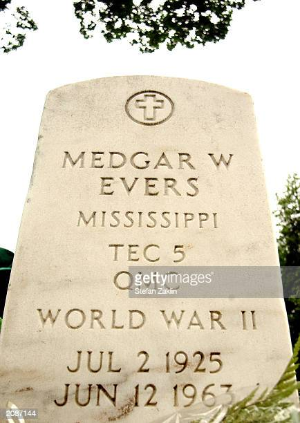 The tombstone of slain civil rights leader Medgar Evers is seen in Arlington National Cemetery June 16 2003 in Arlington Virginia Medgar Evers was...