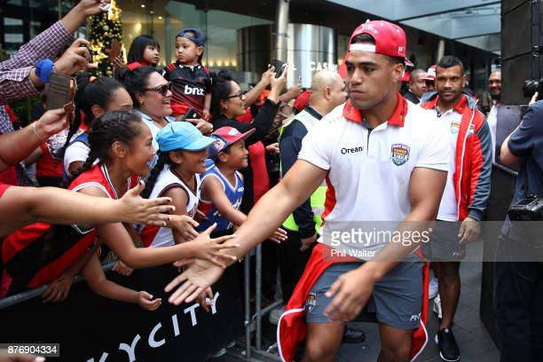 The Tongan Rugby League team arrive for the Rugby League World Cup 2017 Fan Day at SKYCITY on November 21 2017 in Auckland New Zealand