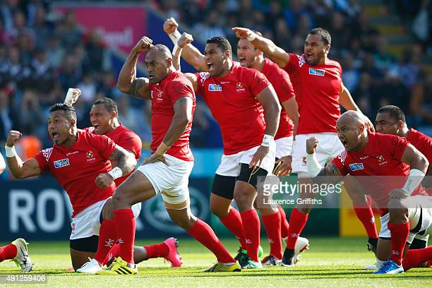 The Tongan team perform the Sipi Tau prior to the 2015 Rugby World Cup Pool C match between Argentina and Tonga at Leicester City Stadium on October...