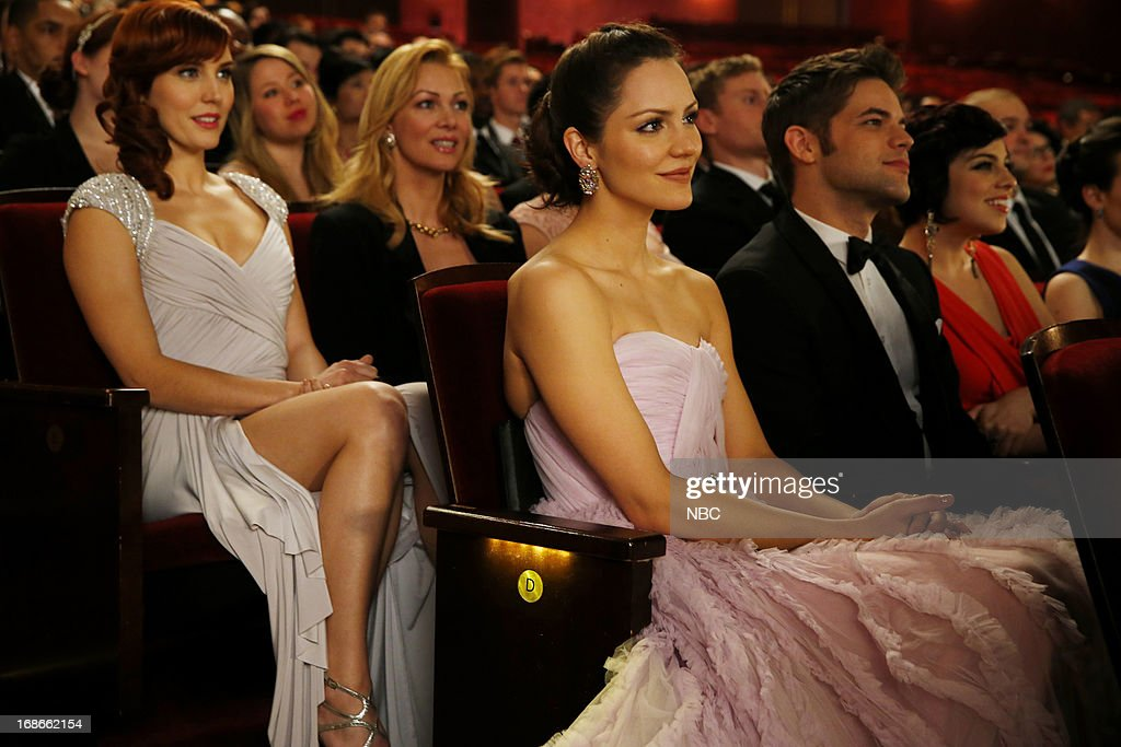 SMASH -- 'The Tonys' Episode 217 -- Pictured: (l-r) <a gi-track='captionPersonalityLinkClicked' href=/galleries/search?phrase=Katharine+McPhee&family=editorial&specificpeople=581492 ng-click='$event.stopPropagation()'>Katharine McPhee</a> as Karen Cartwright, Jeremy Jordan as Jimmy Collins --